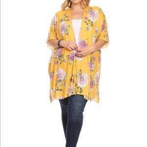 Chris & Carol Mustard Flower Plus Size Kimono NWT